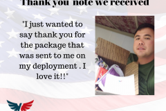 Military thank you letter received