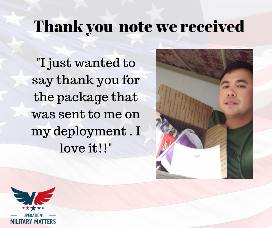 Thank you note we received